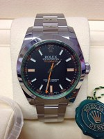 Rolex replica Milgauss 116400GV Black Dial Green Glass